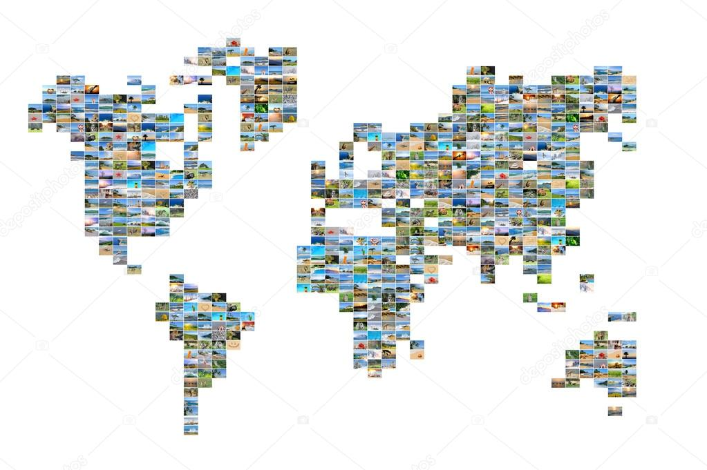 World map with photos