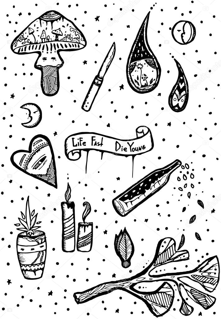 Happy And Sadness Symbols Doodle Style Ink Handdraw Stock