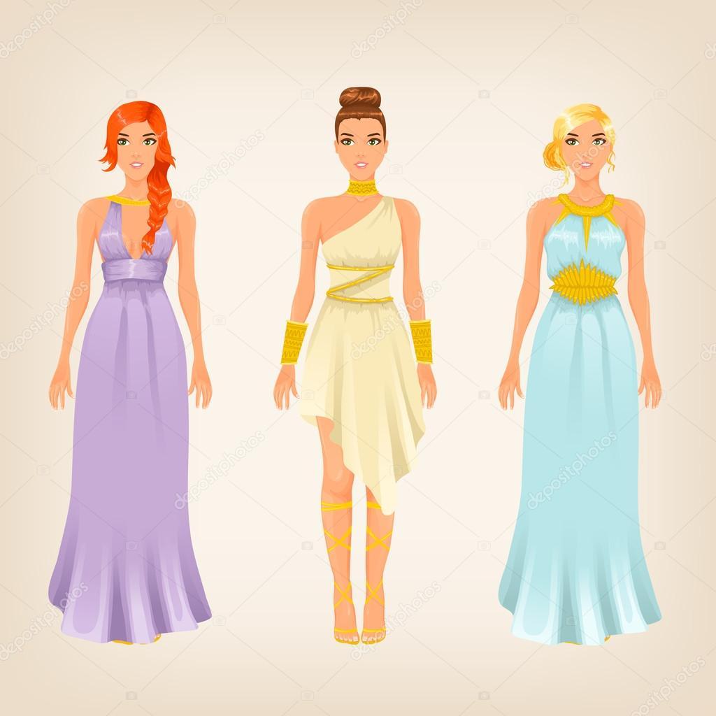 Frauen im griechischen Stil Kleider — Stockvektor © alenarozova ...