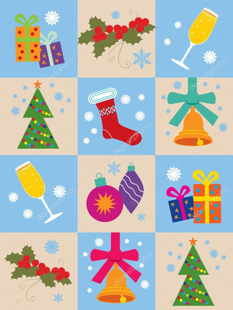 Seamless Backgrounds With Christmas Symbols Stock Vector Yankee