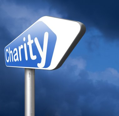 Charity donation road sign