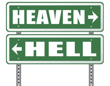 Heaven or Hell arrow sign