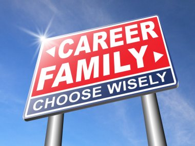 career family balance road sign