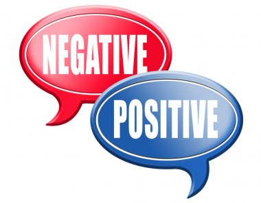Negative or positive thinking speech bubbles