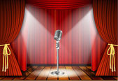 Photo Microphone and red curtain