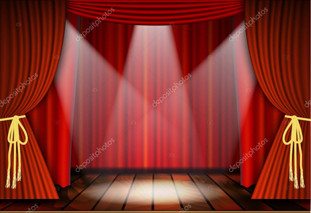 Theatrical scene with red curtains