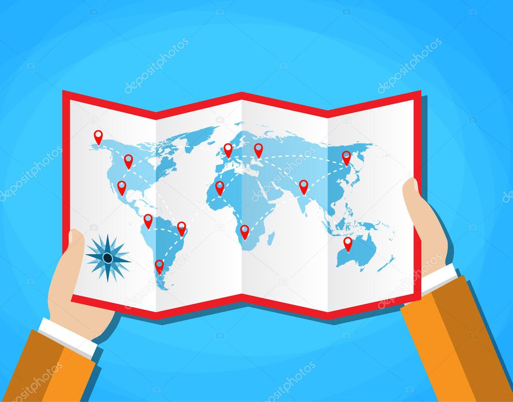 Cartoon hands hold folded paper map of world with color point cartoon hands hold folded paper map of world with color point markers world map countries vector illustration in flat design on blue background vector gumiabroncs Image collections