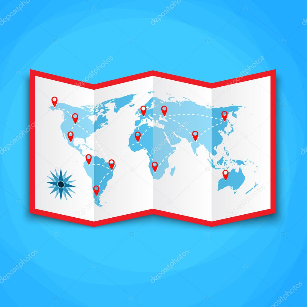 Paper world map with location icons map icon vector map vector paper world map with location icons map icon vector map vector illustration in flat design on blue background vector de drogatnev gumiabroncs Images