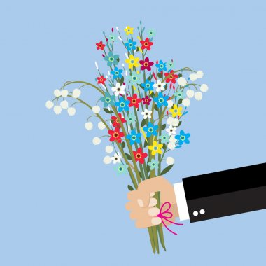 cartoon businessman hand holding bouquet  flowers