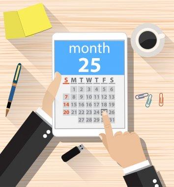 businessman clicks on the day calendar app