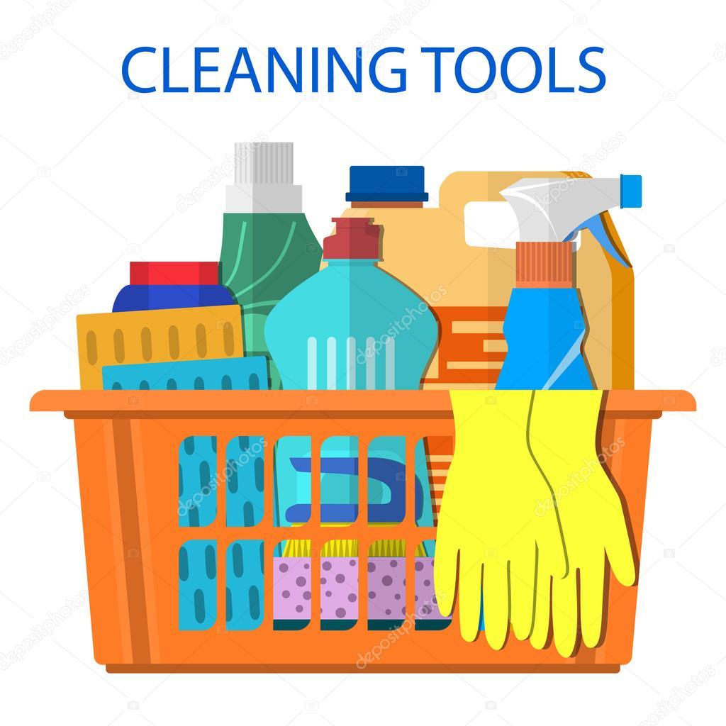 Accesorios y productos de limpieza hogar vector de stock for Articulos para limpieza del hogar