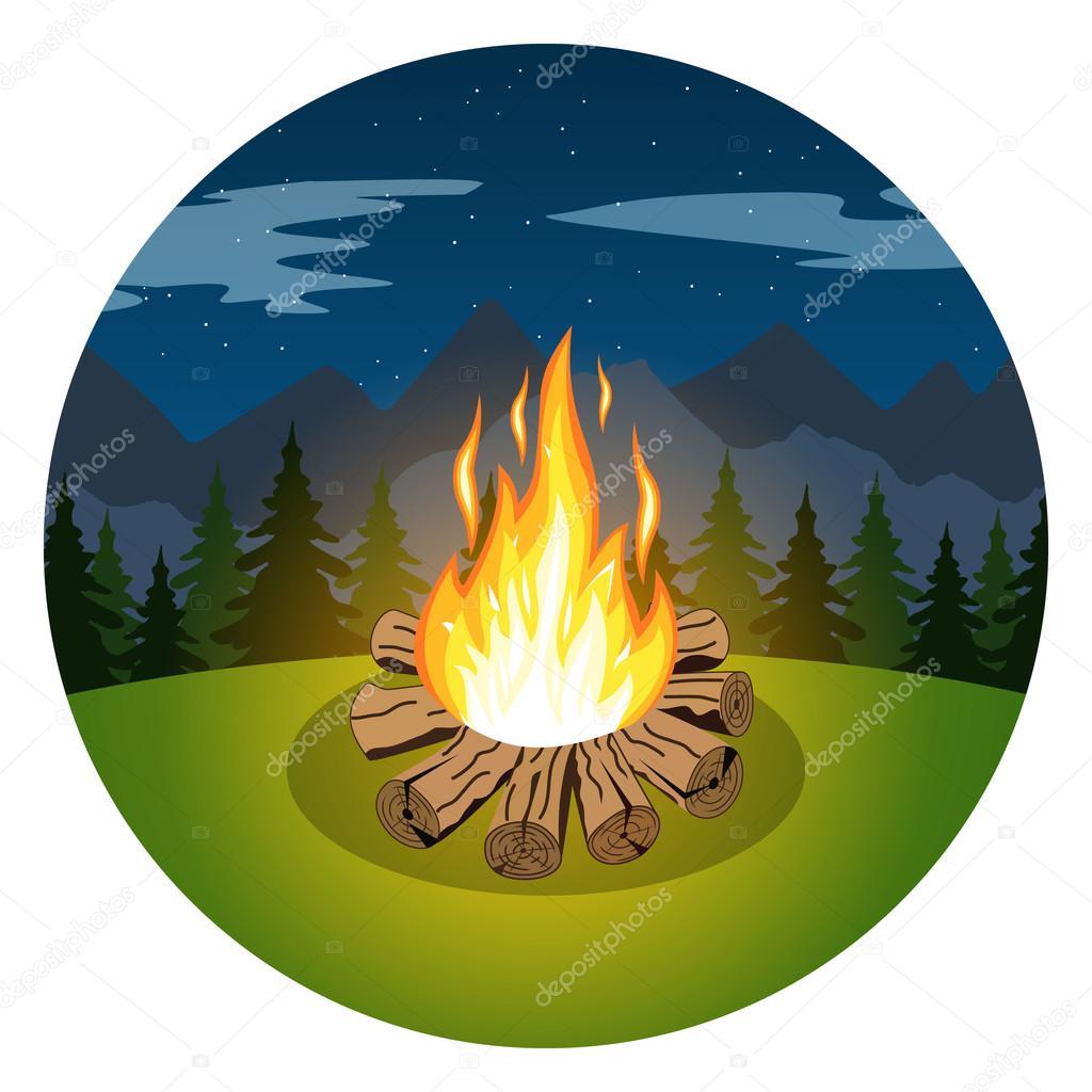 Cartoon bonfire on night landscape