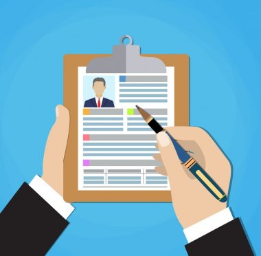 Resume form in the hands.