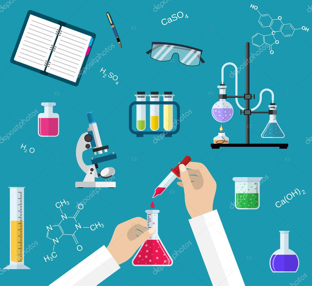 science experiment or chemistry laboratory concept stock vector