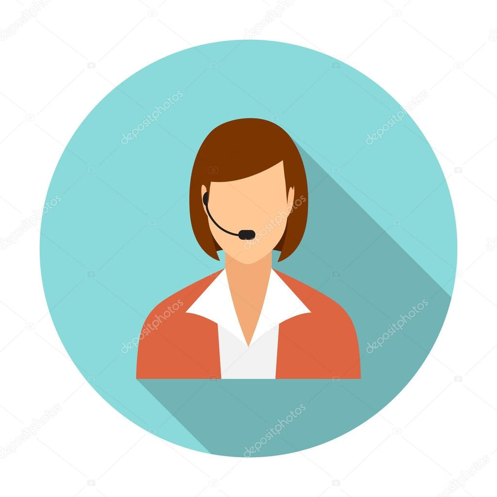 Call Center Operators, Female Avatar Icons.