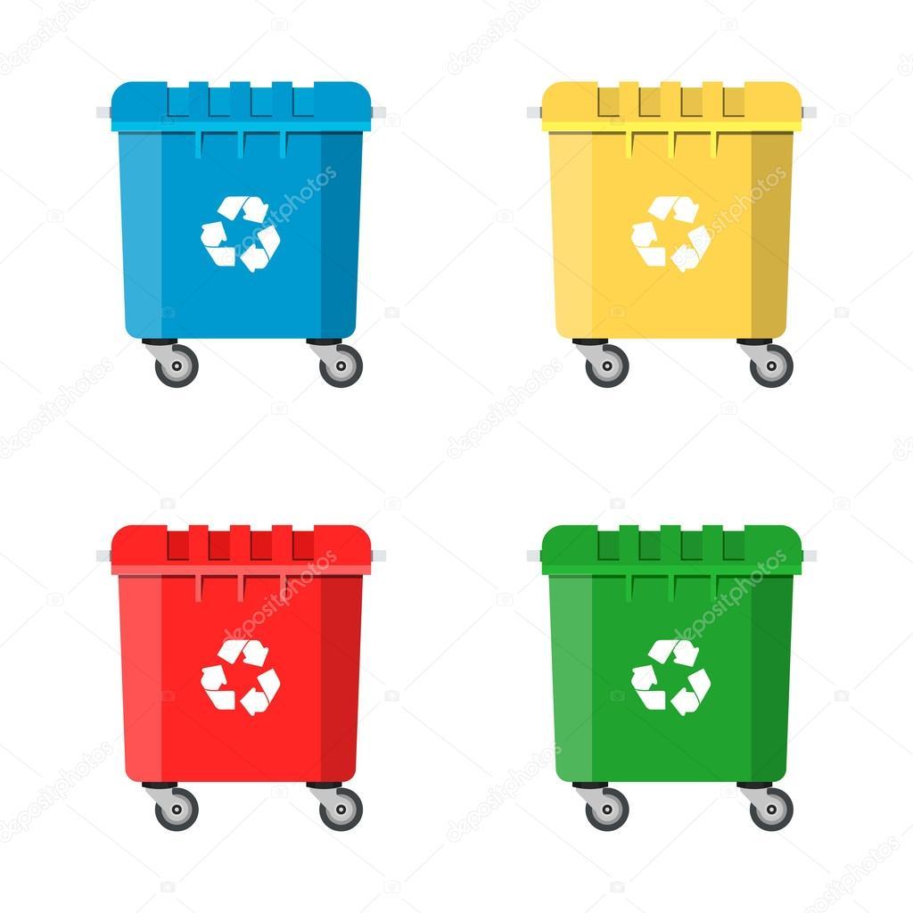 Set de contenedores de reciclaje para basura archivo im genes vectoriales drogatnev 118458224 - Contenedores de basura para reciclaje ...