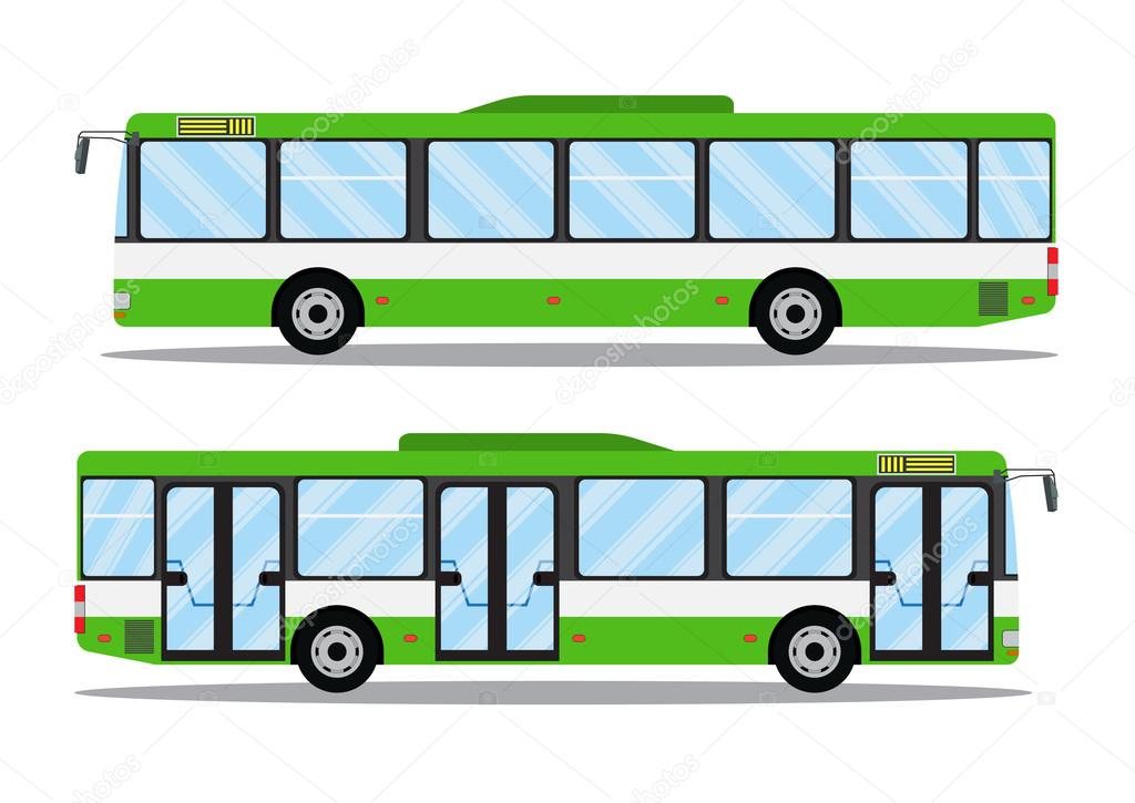 City Transit Shorter Distance Bus, Side View, Isolated. Vector Icon  Illustration In Flat Design U2014 Vector By Drogatnev
