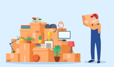 Concept moving house. Relocation to apartment. Delivery service. Moving with boxes to new home. Male mover, paper cardboard boxes with goods. Vector illustration in flat style icon