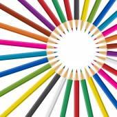 Kruh duhy barevné tužky na bílém pozadí