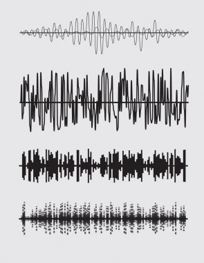 Vector sound waves set. Audio equalizer technology. Vector illustration stock vector