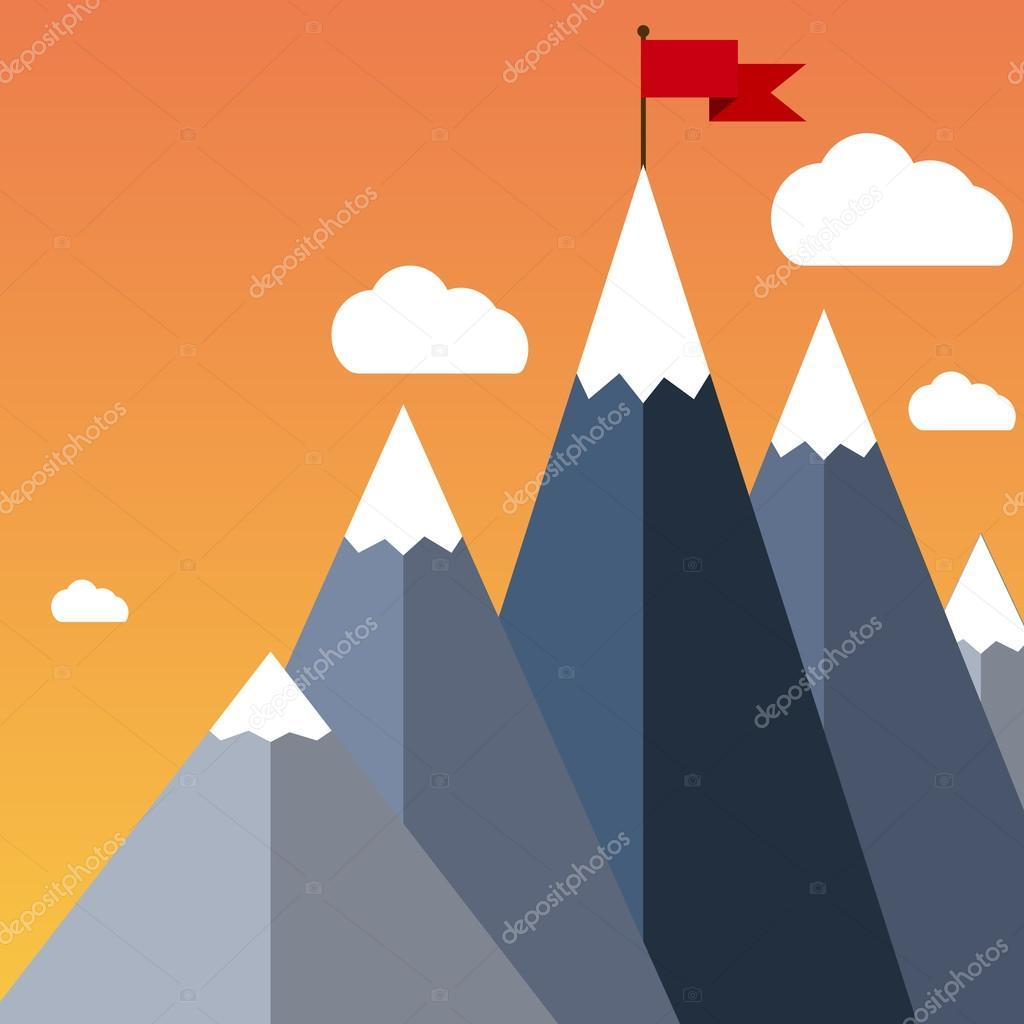 Vector flat flag on mountain. Success illustration.