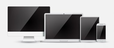 Set  computer monitor, laptop, tablet and mobile phone