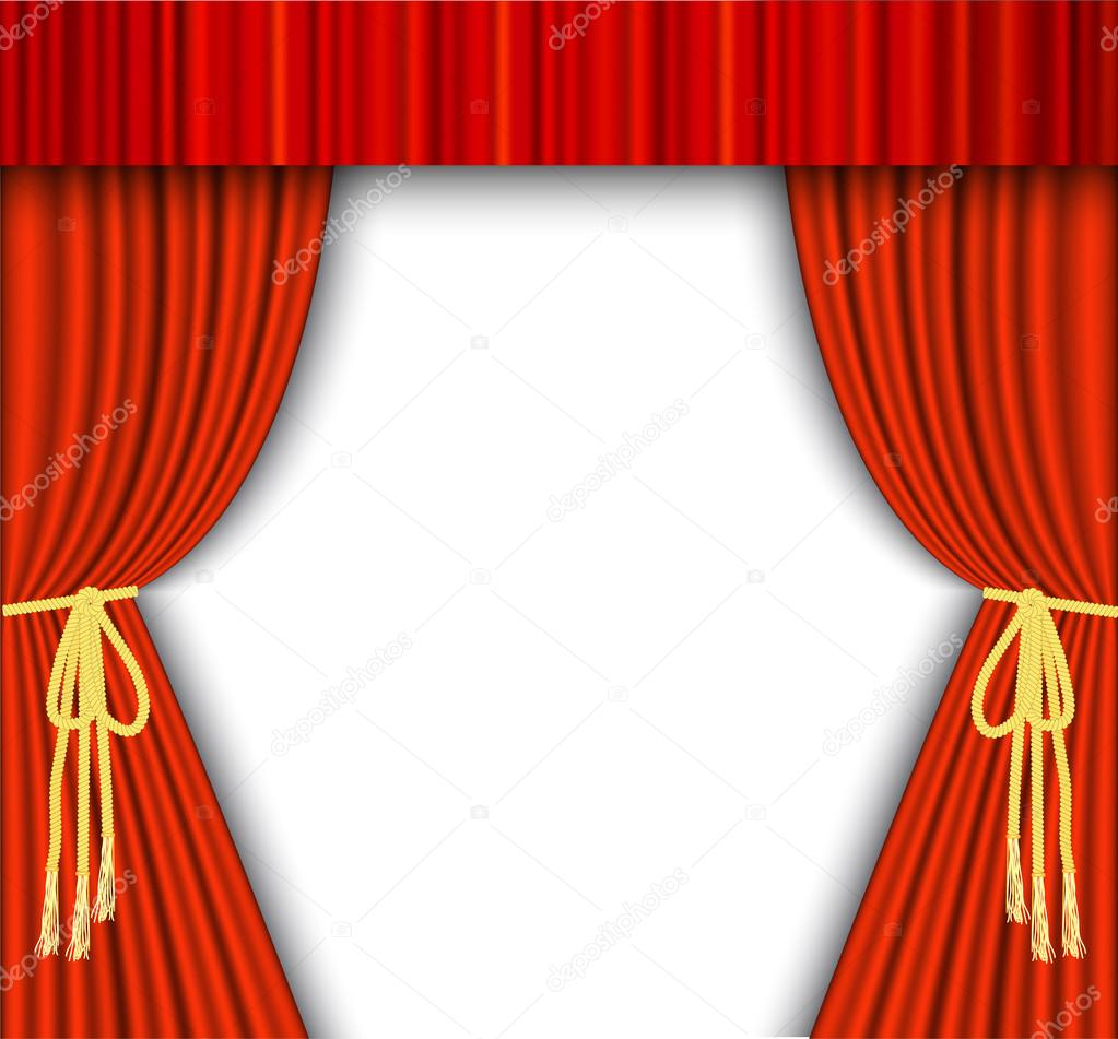 scène de théâtre avec rideau rouge — Image vectorielle drogatnev ...