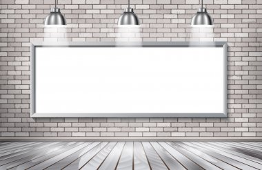White brick show room with spotlights.