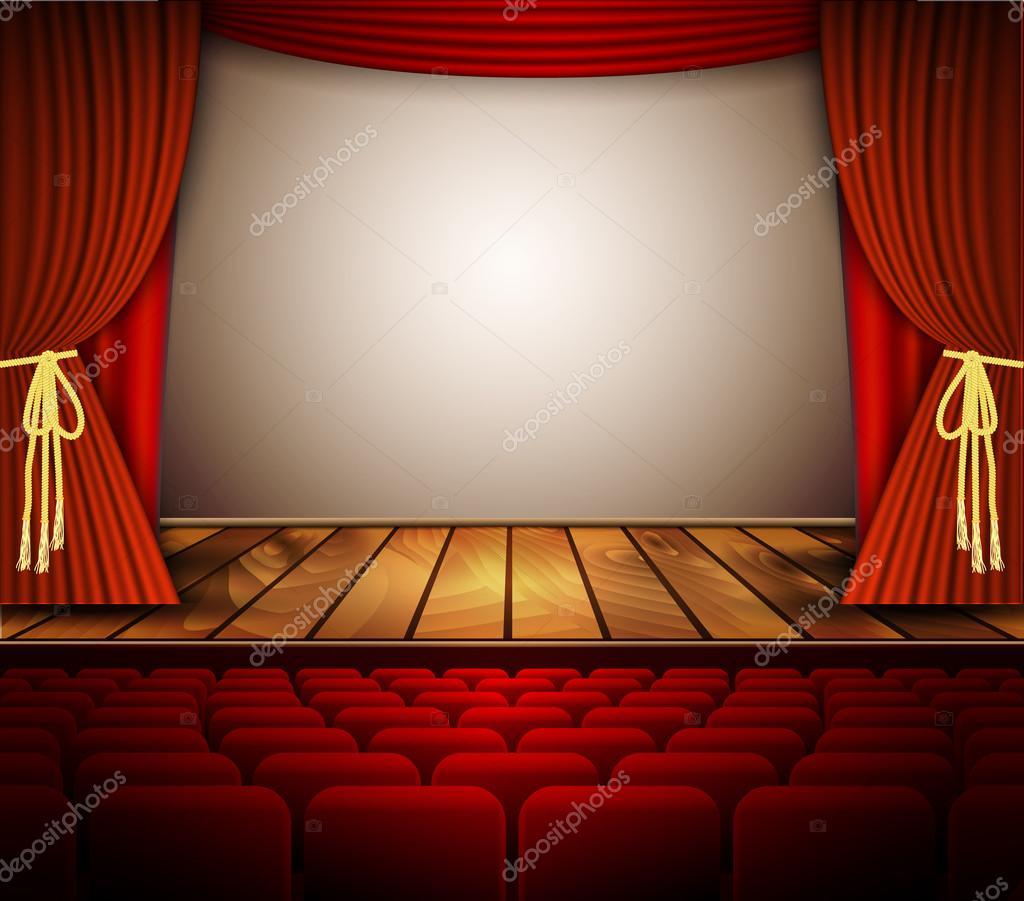 Theater b hne mit einem roten vorhang sitze stockvektor drogatnev 83204556 - Location de rideaux de scene ...