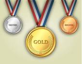 Photo Set of gold, silver and bronze medals