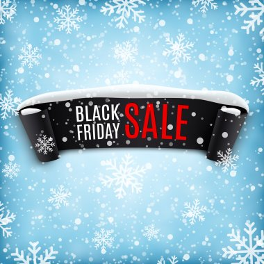 Black Friday sale background with black ribbon banner