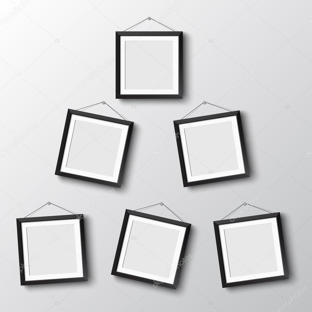 Seis marcos de colgar en pared — Archivo Imágenes Vectoriales ...