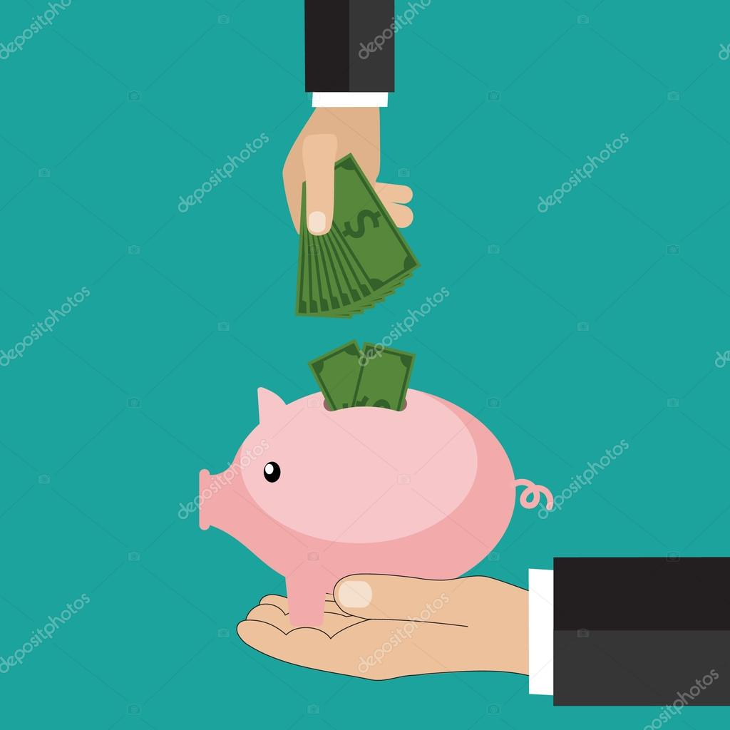 many hands putting coin and money into a piggy bank