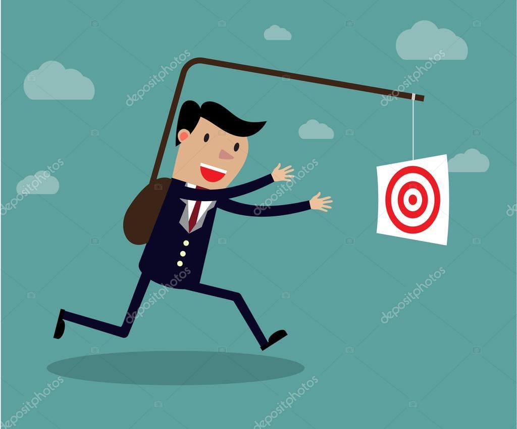 Empresario persiguiendo su objetivo, el concepto de motivación. Ilustración  de dibujos animados vector creativo método derrotar del uno mismo para  lograr el ...