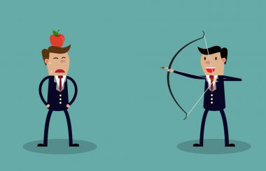 Business executive holding bow and arrow aiming to shoot at apple on another mans head. Vector illustration for business risk concept stock vector