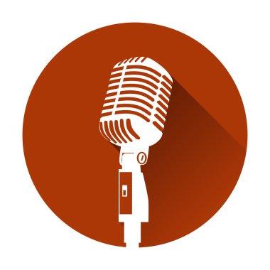 Vintage white silhouette retro stage microphone