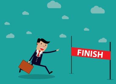 Businessman Run Cross Finish Line