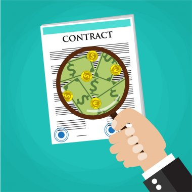 Cartoon businessman hand checking contract