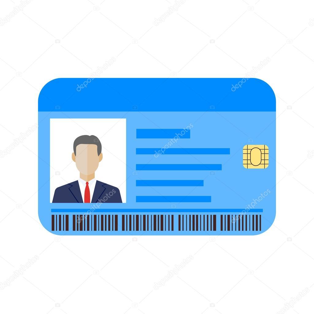 Plantilla de tarjetas de identificación con el hombre — Archivo ...