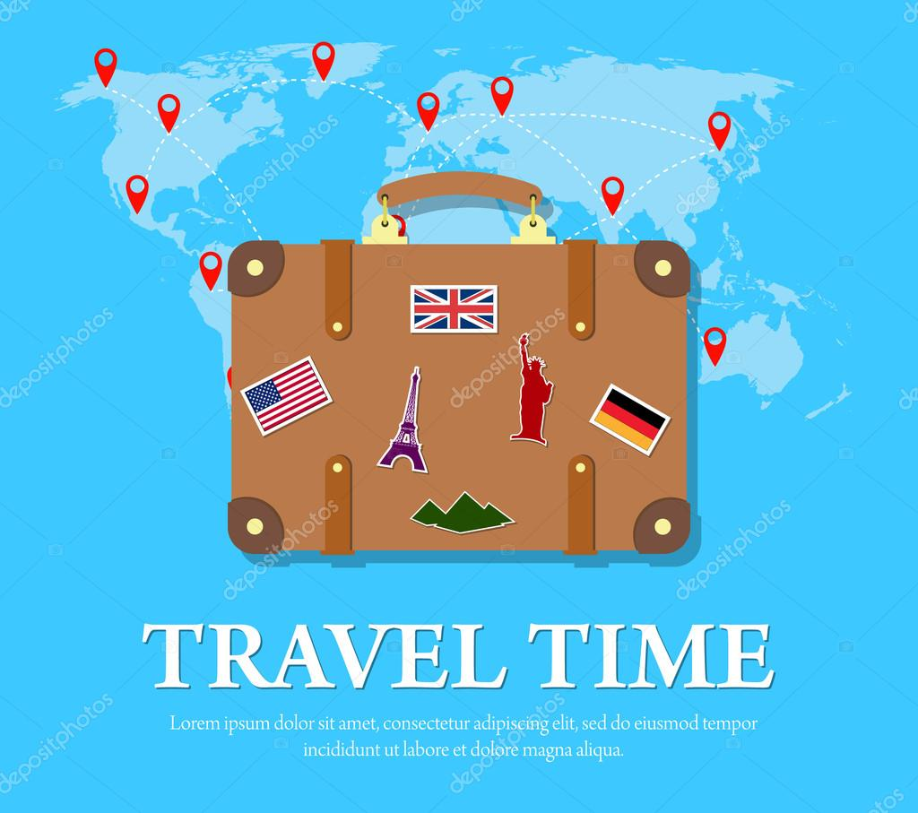 Travel concept vector flat banner stock vector drogatnev 99088264 colourful travel concept vector flat banner with travel bag and world map travel suitcase with funky stickers vector by drogatnev gumiabroncs Choice Image