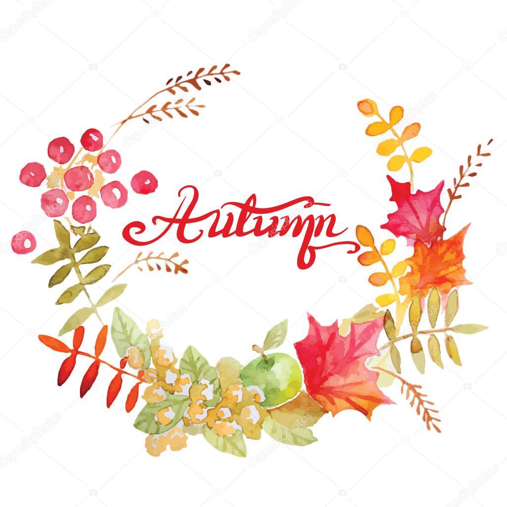 Colorful autumn leaves wreath.