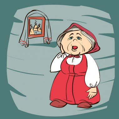 Stock Vector cartoon illustration of a grandmother
