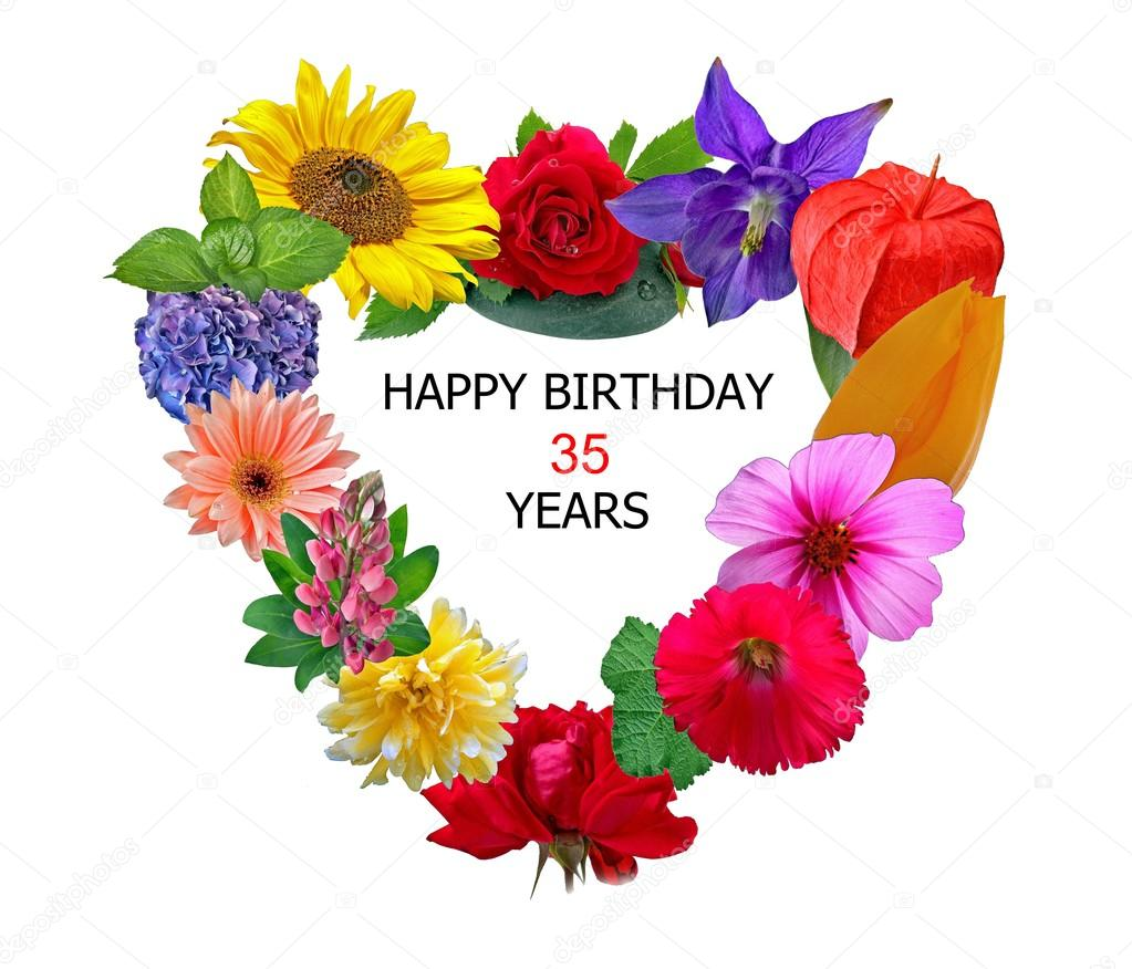 Happy birthday 35 years stock photo pixerl 105840854 flower happy birthday 35 years photo by pixerl izmirmasajfo