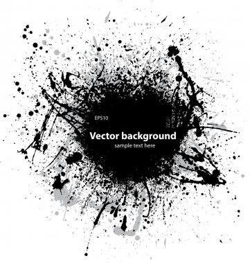 Black ink splash with sample text on white background. eps10 clip art vector