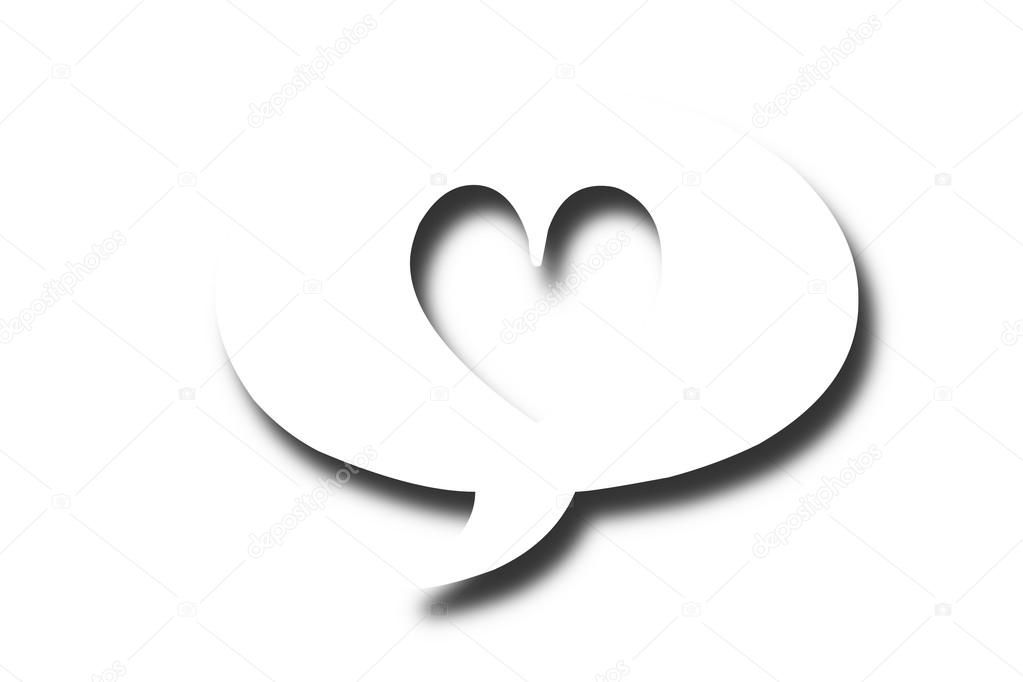 Speech Bubble Heart Symbol On White Stock Photo Reddees 111812976