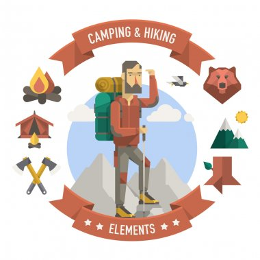 camping and hiker elements