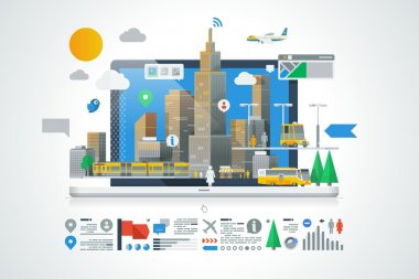City info graphics, vector background
