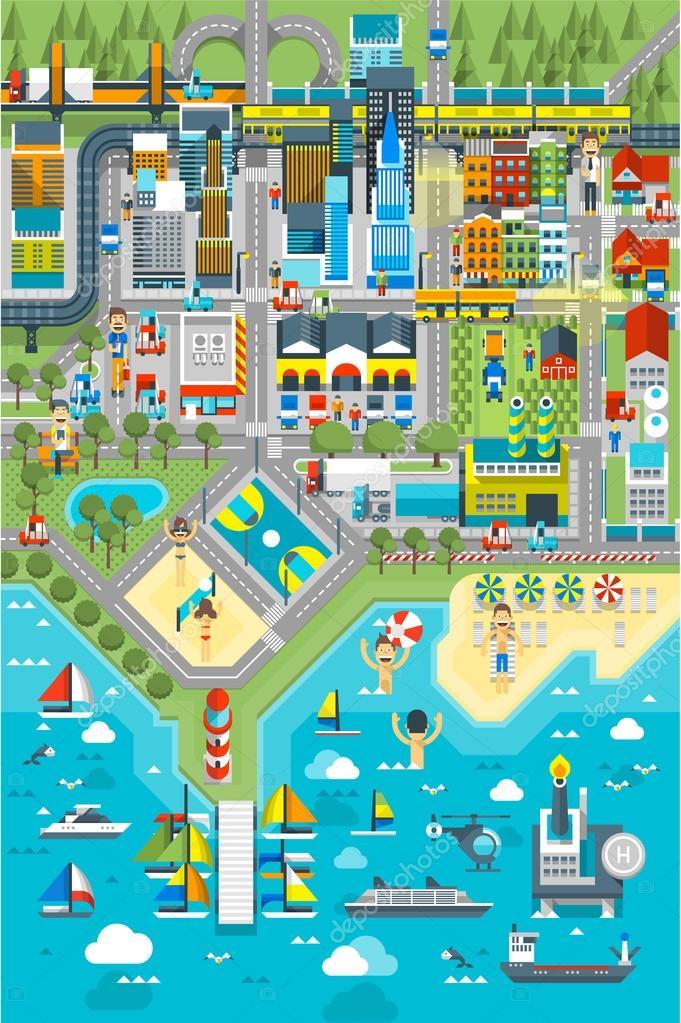 Map of City near sea