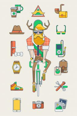 Hipster riding on his bicycle and accessories
