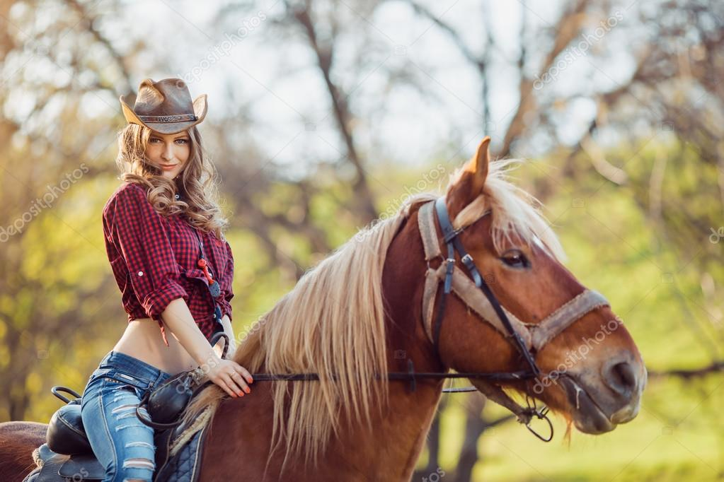 Beautiful Girl Riding Horse On Autumn Field  Stock Photo  Dimabl 105072558-9804